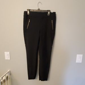 Black with blue polka dot ankle pants
